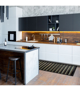 BAMBOO - Black, non-slip rug for the kitchen, degradé effect bamboo runner - ambient