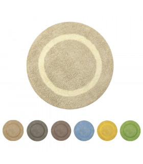 SUN - Round bath mat in cotton and microfiber with non-slip bottom 75cm all colors