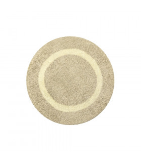 Round bath mat in cotton and microfiber with non-slip bottom
