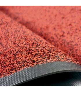 Dettaglio rosso dello zerbino professionale Solid con bordo