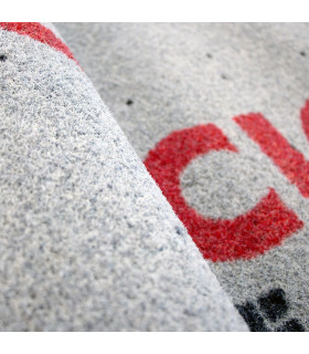 Detail of professional outdoor drainage doormat