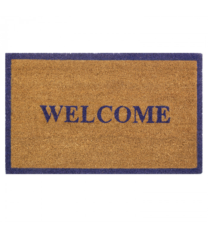 Doormat in natural coconut and non-slip rubberized bottom, blue 2 shapes