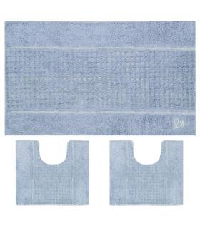 3 tappeti coordinati per bagno in cotone con fondo antiscivolo colore blu